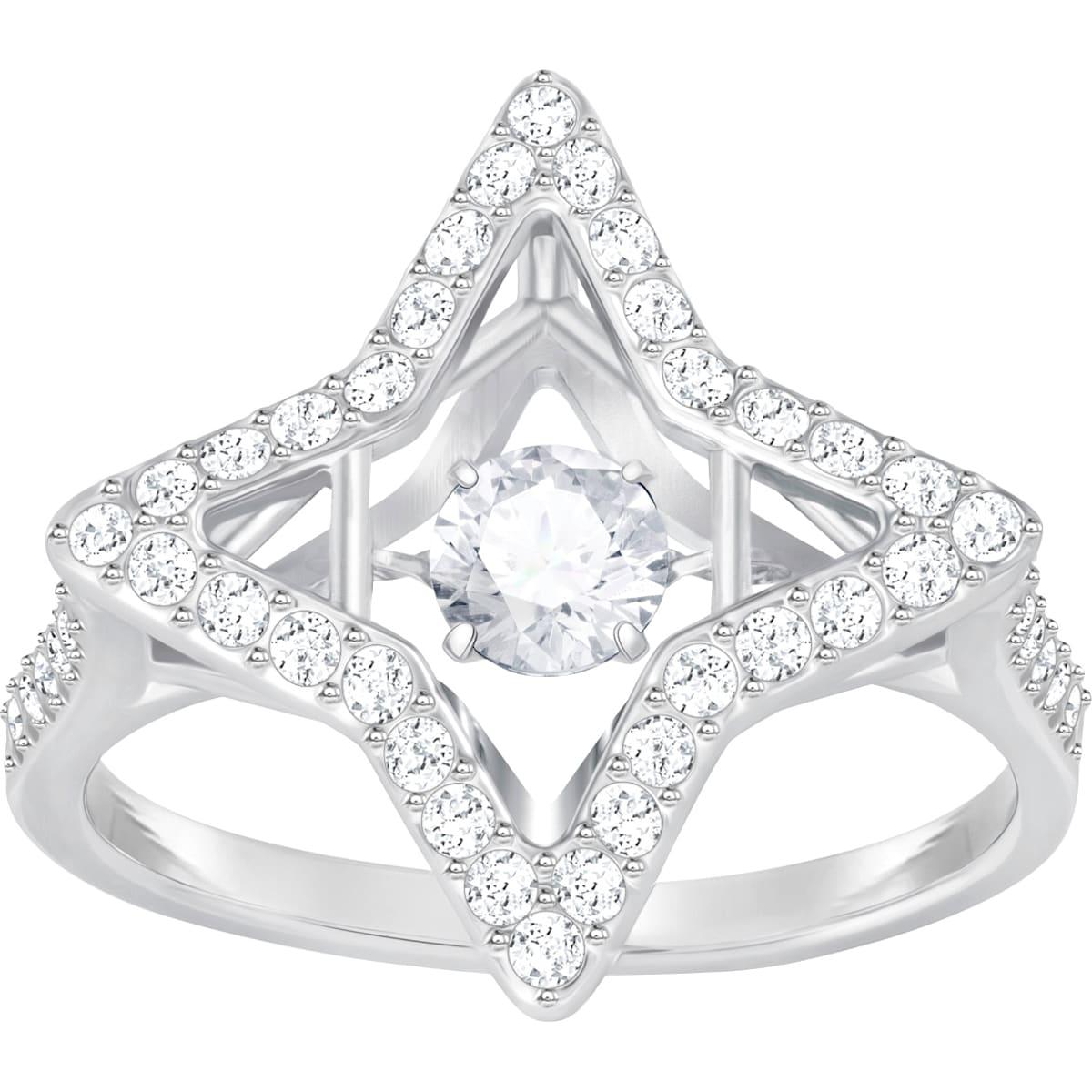 Sparkling Dance Star Ring, weiss, Rhodiniert