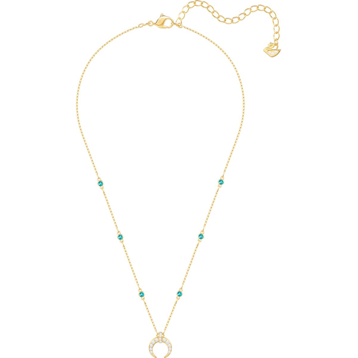ef74e4d8aa1f6 Last Summer Moon Necklace, Aqua, Gold plating