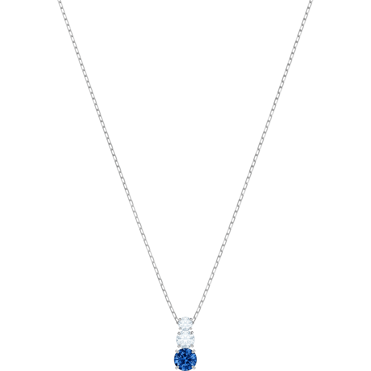 de75d7f1f4860 Attract Trilogy Round Pendant, Blue, Rhodium plated