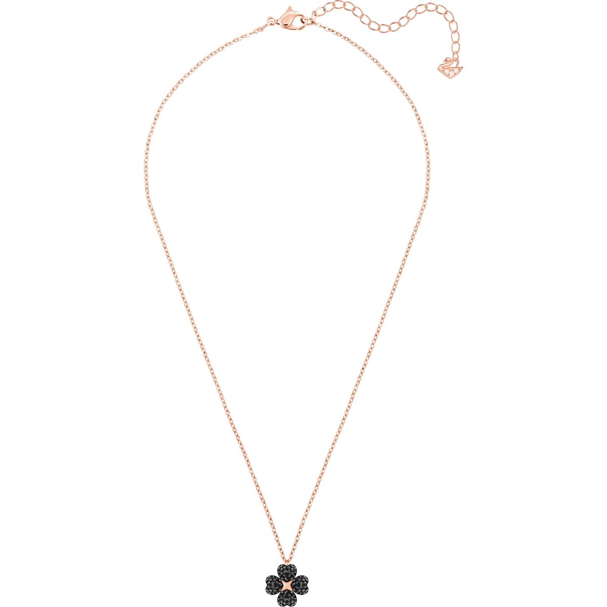 aafd9124ed4f3 Latisha Flower Pendant, Black, Rose-gold tone plated