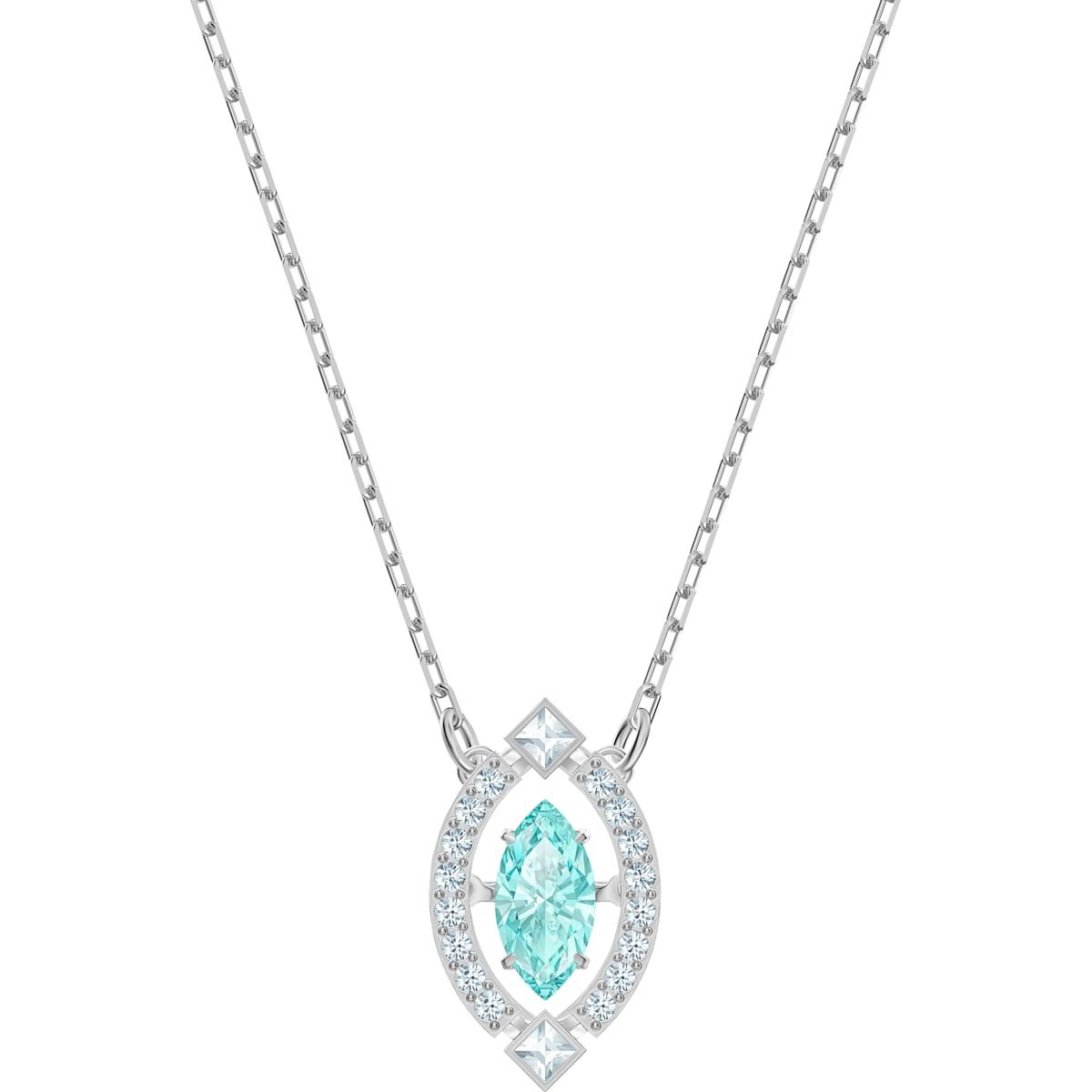 Swarovski Sparkling Dance Necklace, Green, Rhodium plated