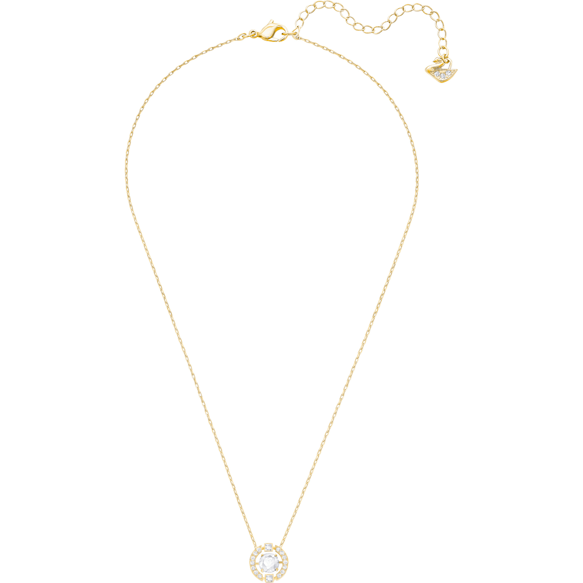 f9618c135940a Swarovski Sparkling Dance Round 項鏈, 白色, 鍍金色色調