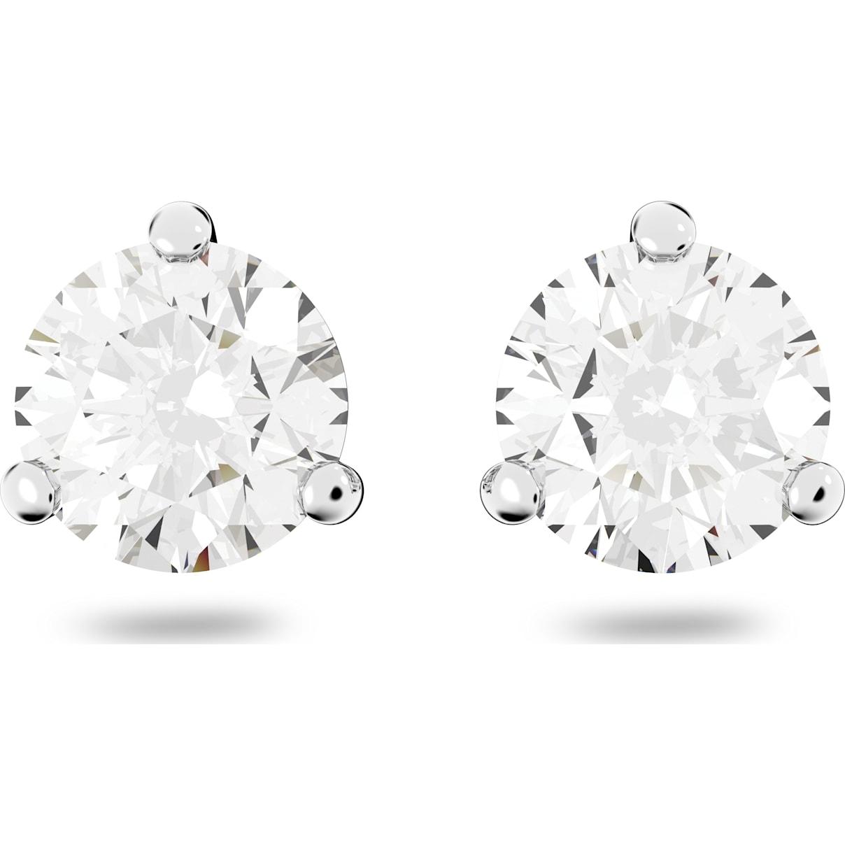 Swarovski Solitaire Pierced Earrings, White, Rhodium plated