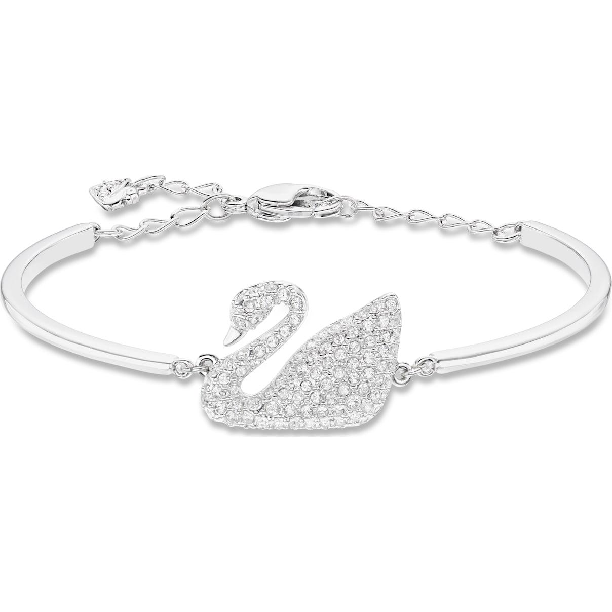 Swarovski Swan Bangle, White, Rhodium plated