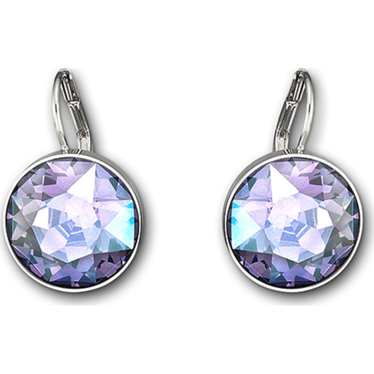 Swarovski Bella Pierced Earrings, Purple, Rhodium plated