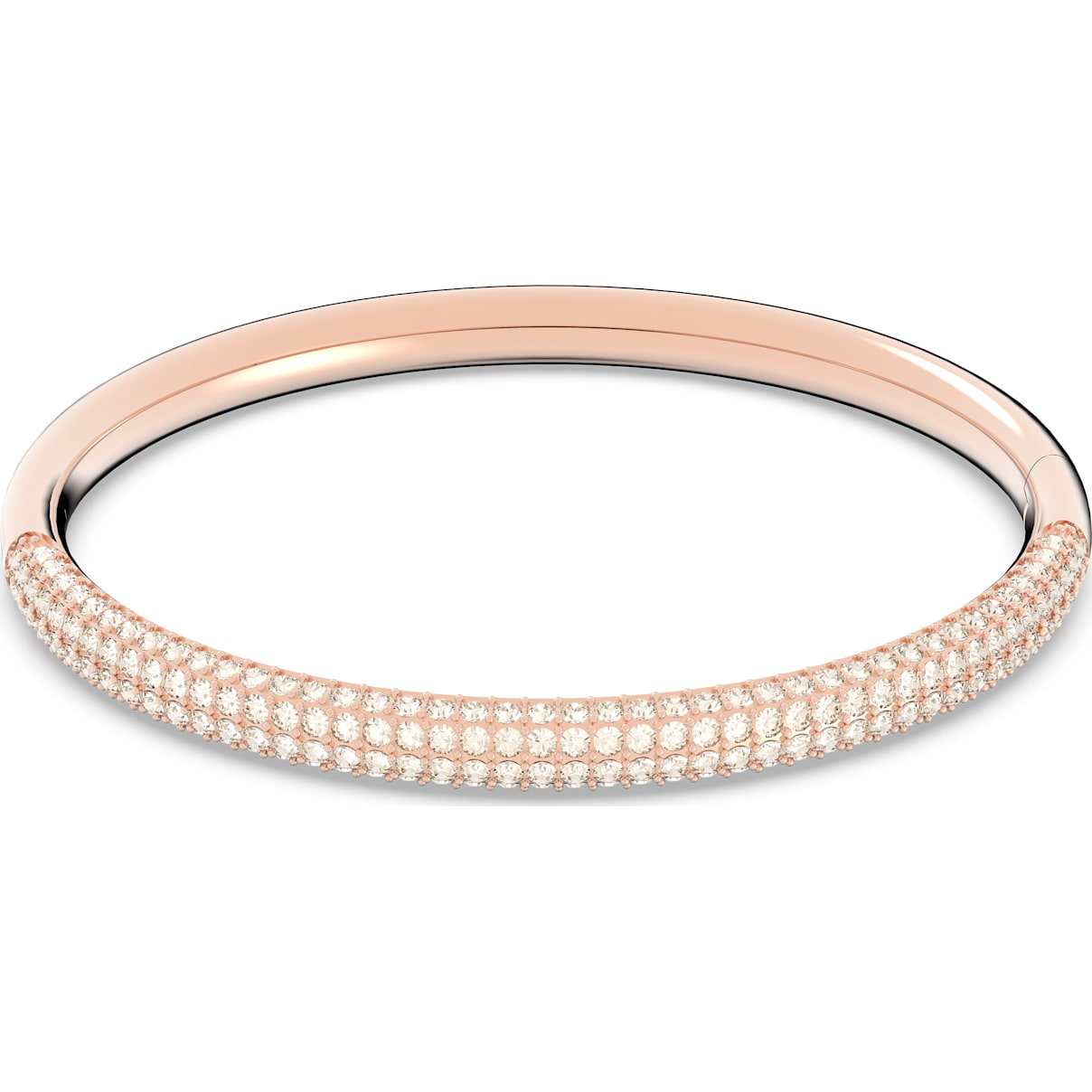 Swarovski Stone Bangle, White, Rose-gold tone plated
