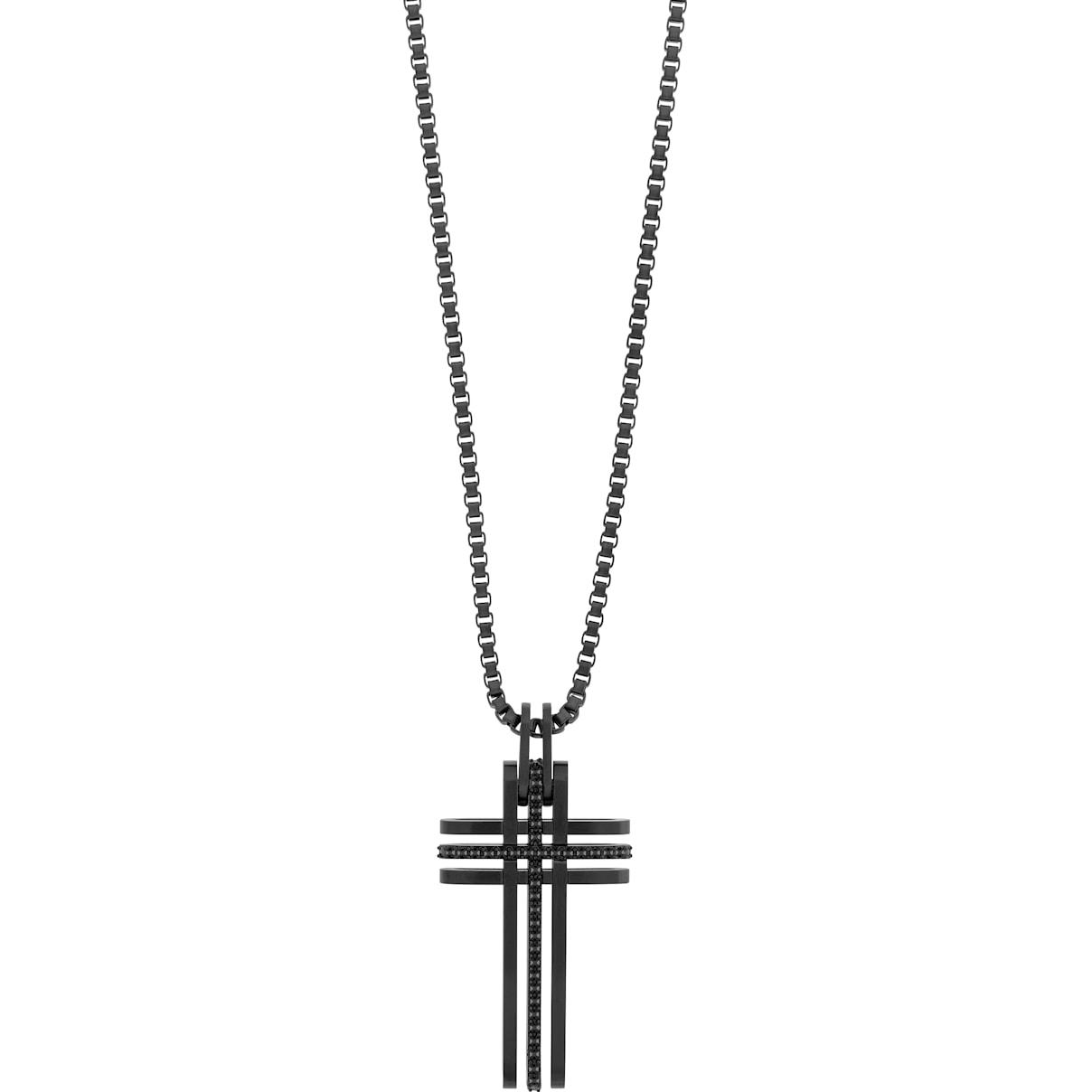 Swarovski Bengal Cross Pendant, Black, Black PVD