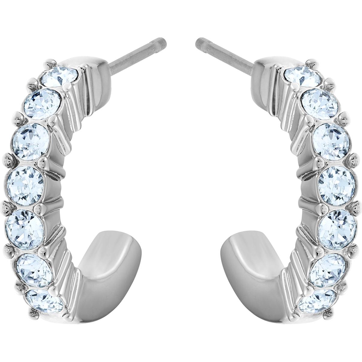 Swarovski Mini Hoop Pierced Earrings, Blue, Rhodium plated
