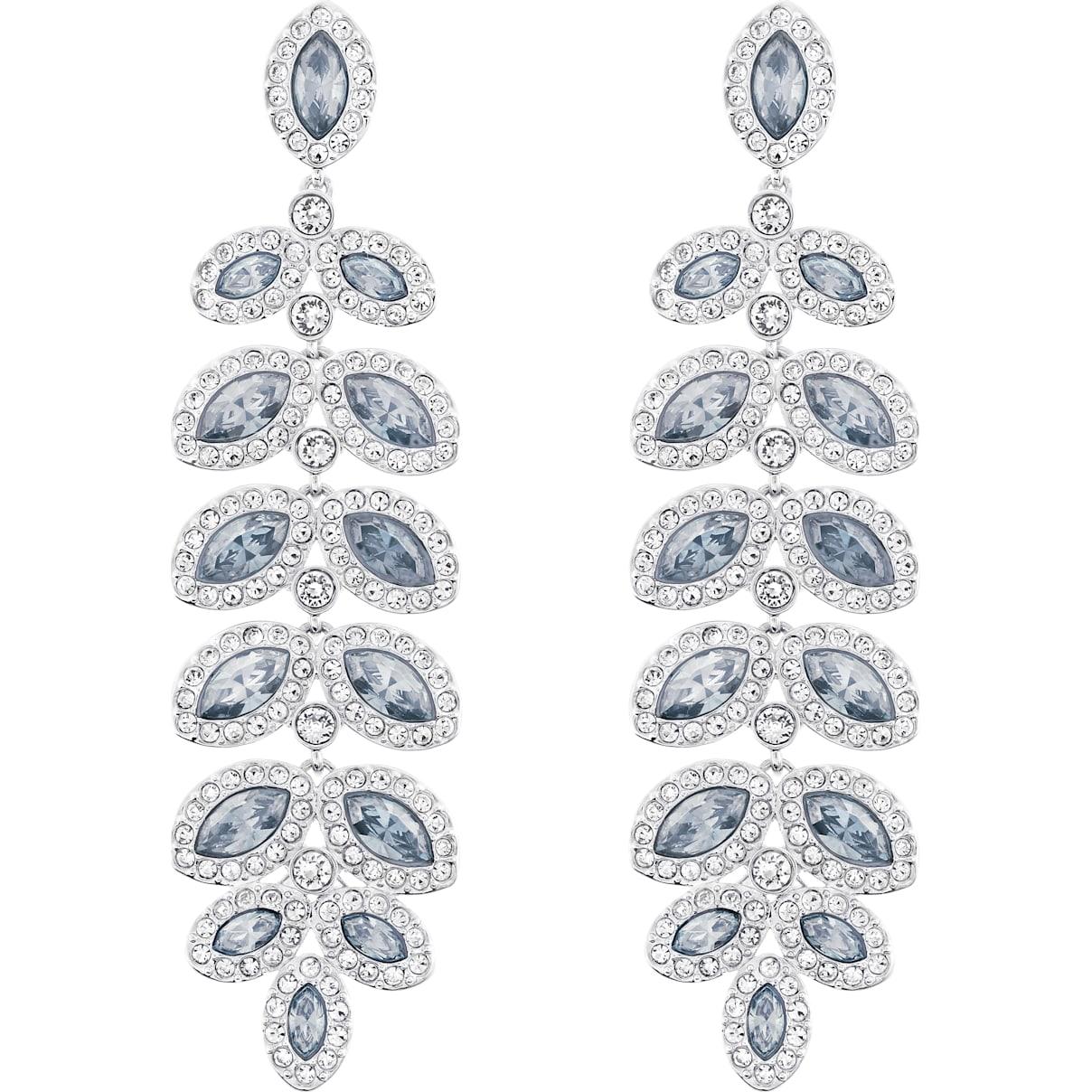 Swarovski Baron Pierced Earrings, Blue, Rhodium plated