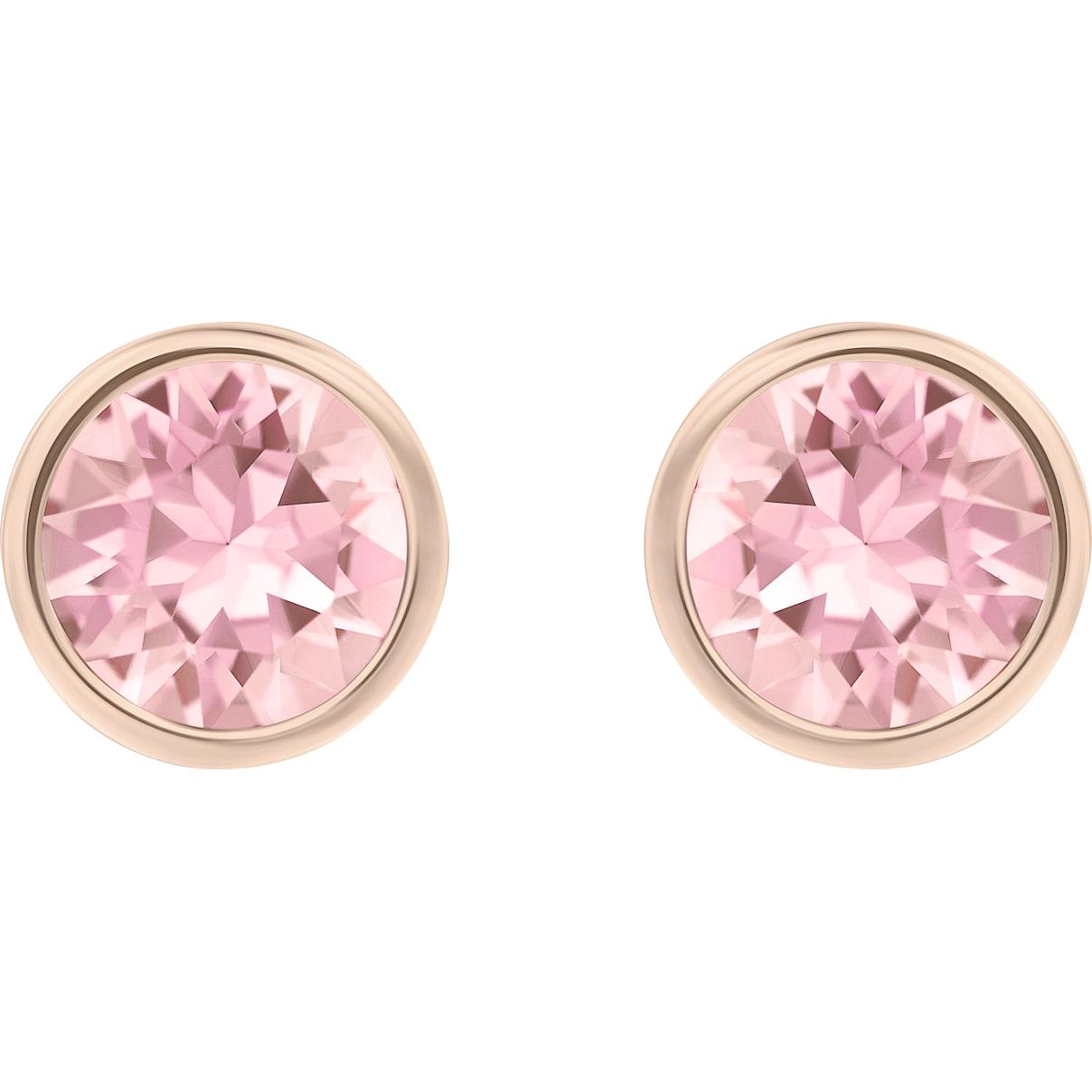 Swarovski Solitaire Pierced Earrings, Pink, Rhodium plated