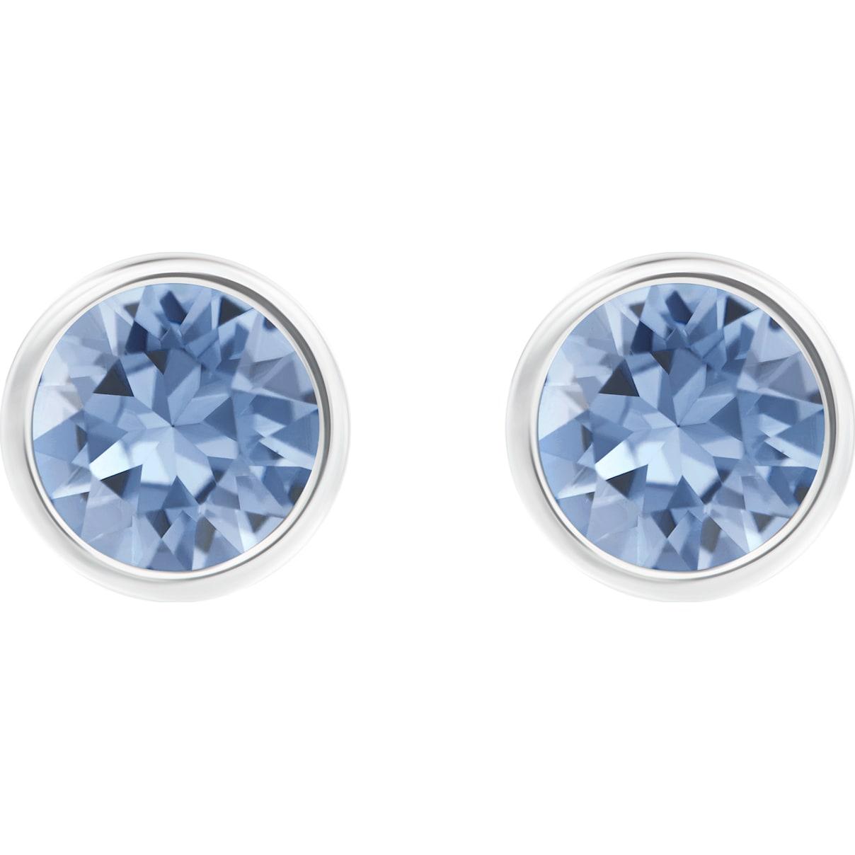 Swarovski Solitaire Pierced Earrings, Blue, Rhodium plated