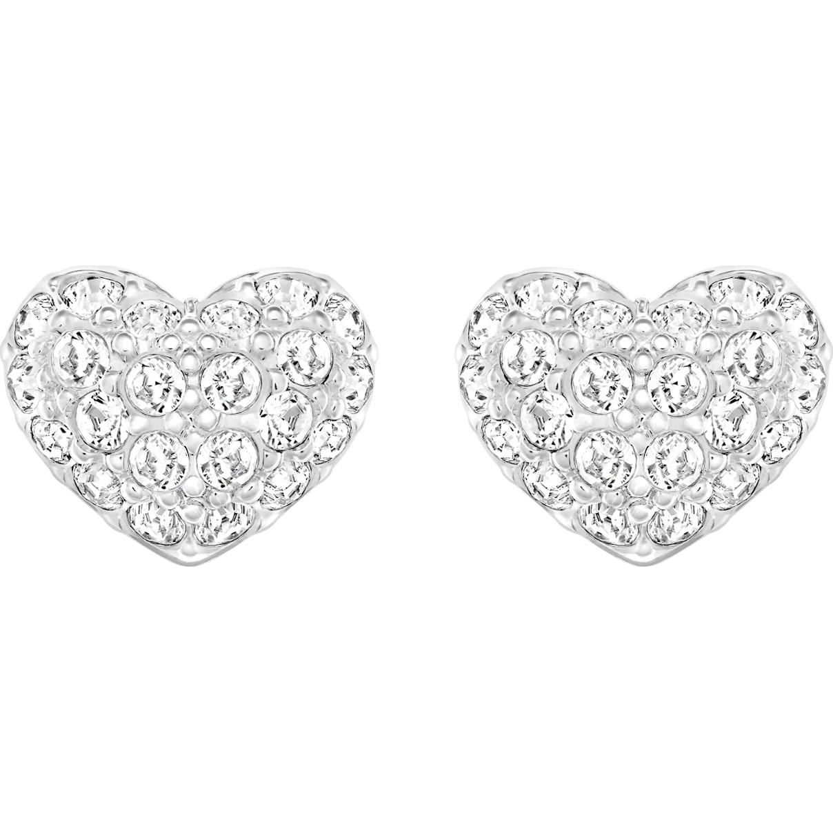 Swarovski Heart Pierced Earrings, White, Rhodium plated