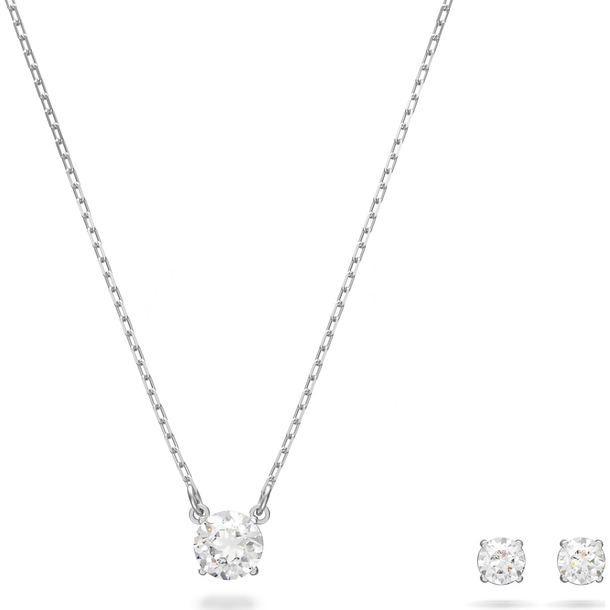 Swarovski Attract Round Set, White, Rhodium plated