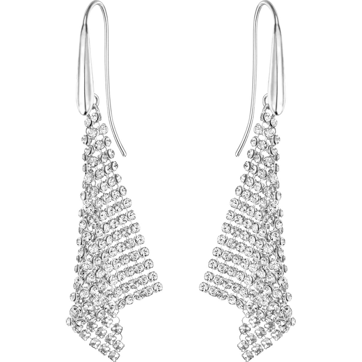 Swarovski Fit Pierced Earrings, White, Rhodium plated