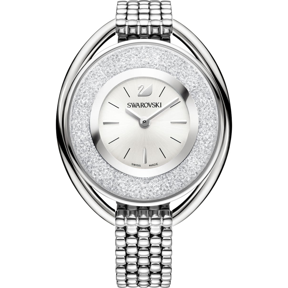 Swarovski Crystalline Oval Watch, Metal bracelet, White, Stainless steel