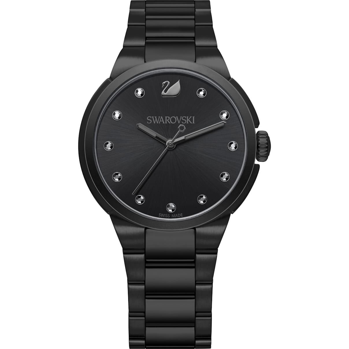 Swarovski City Watch, Metal bracelet, Black, Black tone
