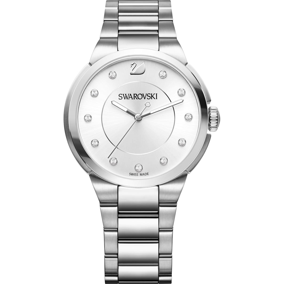Swarovski City Watch, Metal bracelet, White, Silver tone