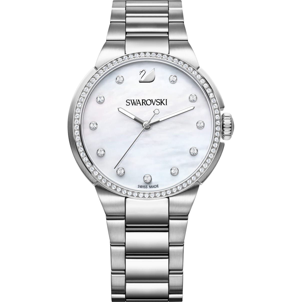 Swarovski City Watch, Metal bracelet, Mother-of-pearl, Silver tone