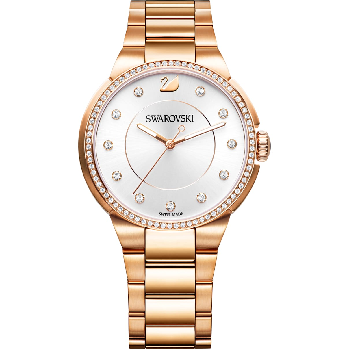 Swarovski City Watch, Metal bracelet, White, Rose gold tone