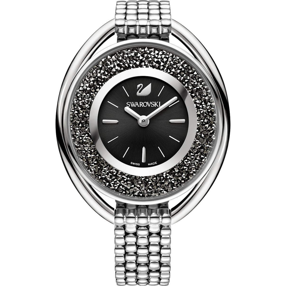 Swarovski Crystalline Oval Watch, Metal bracelet, Black, Silver tone