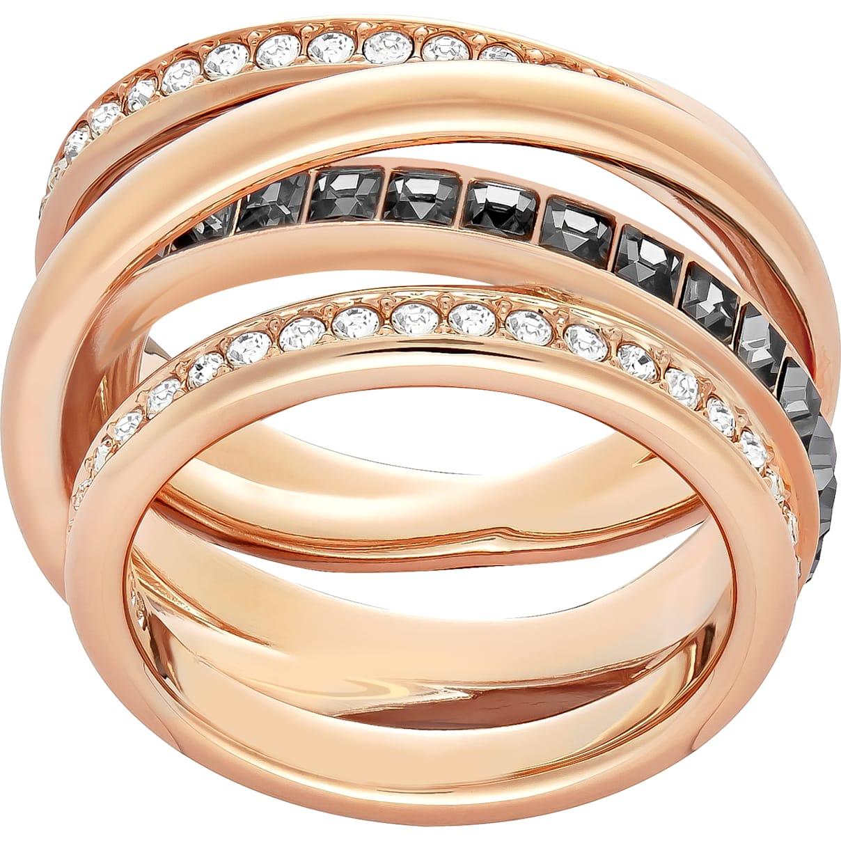Swarovski Dynamic Ring, Gray, Rose-gold tone plated
