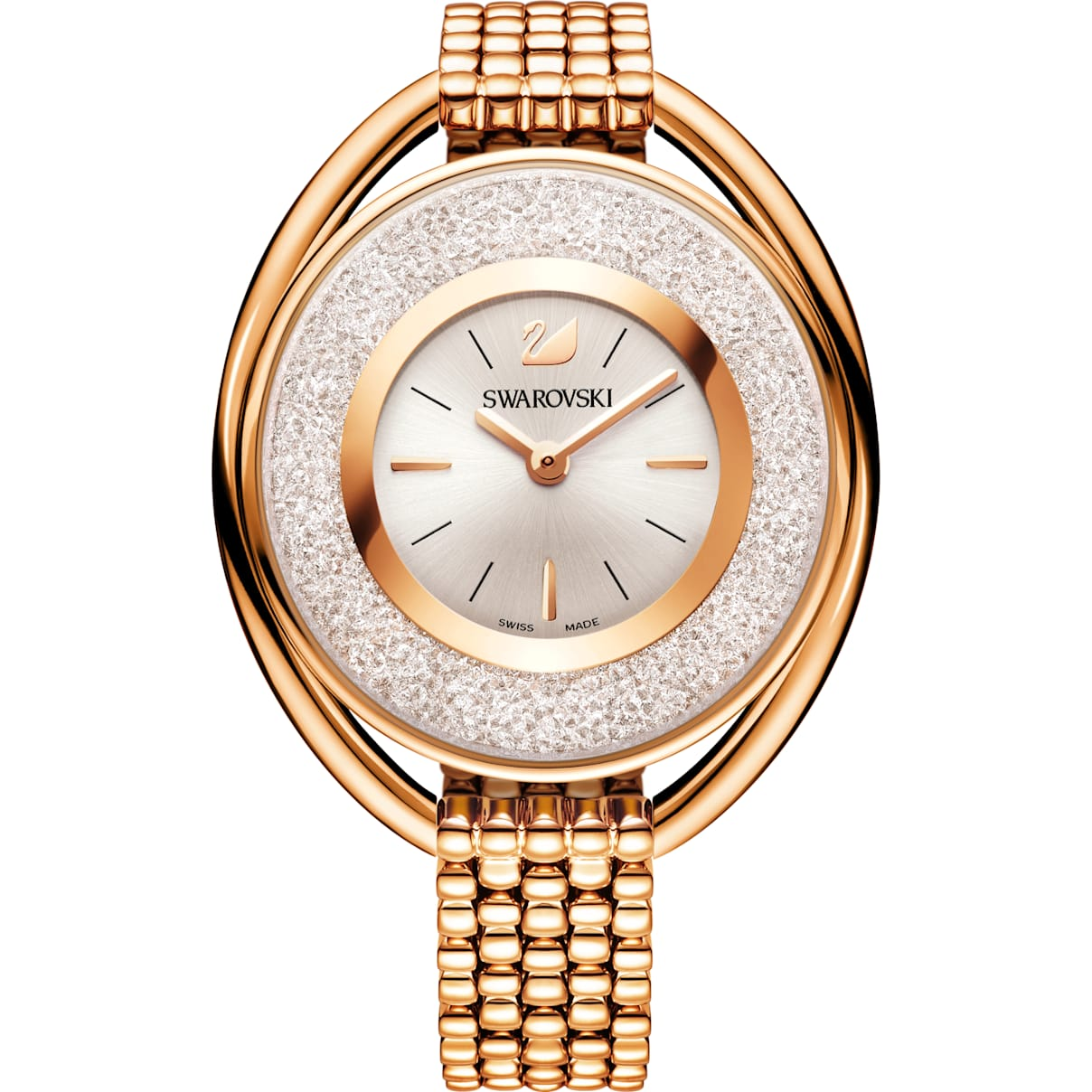 Swarovski Crystalline Oval Watch, Metal bracelet, White, Rose-gold tone PVD