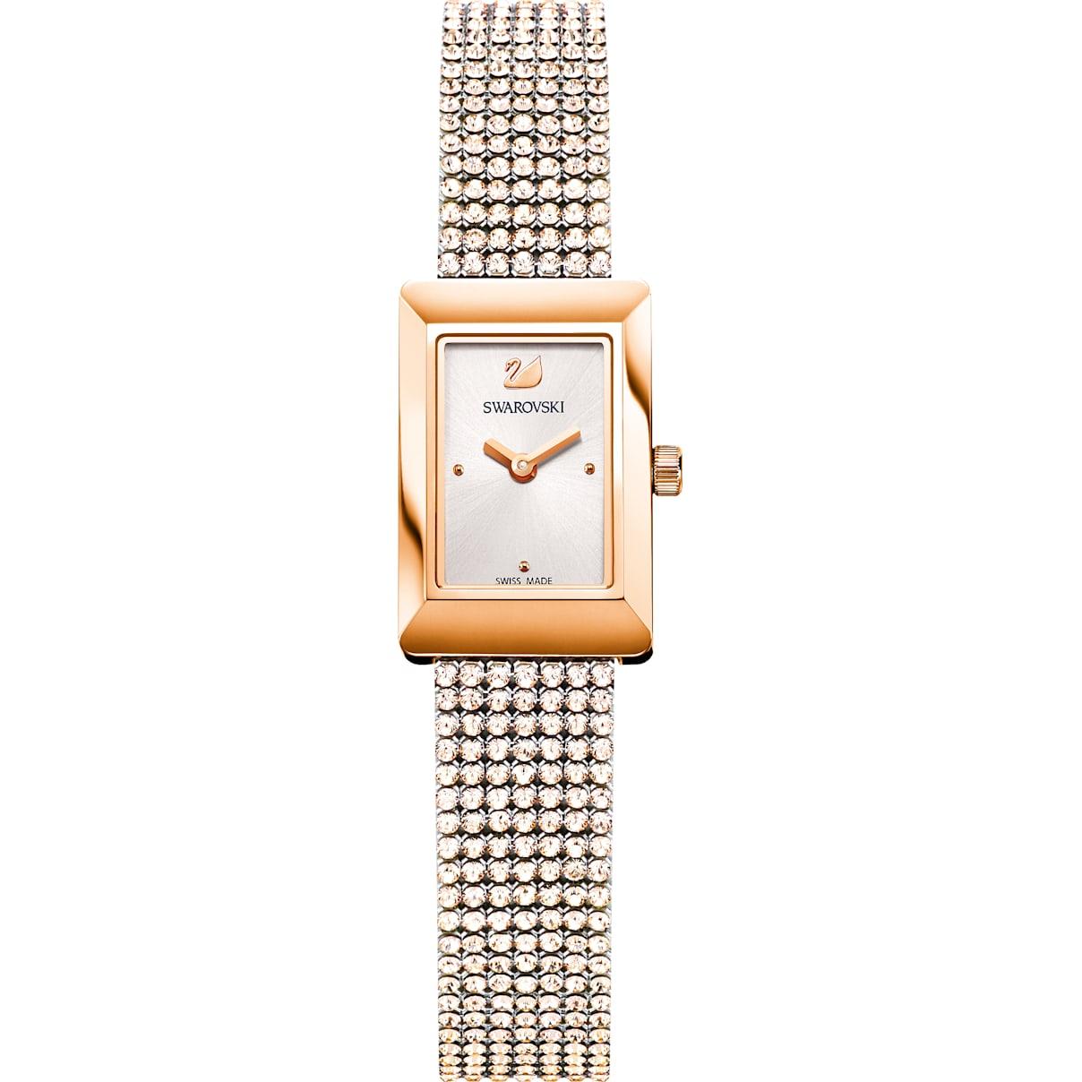 Swarovski Memories Watch, Crystal Mesh strap, White, Rose-gold tone PVD