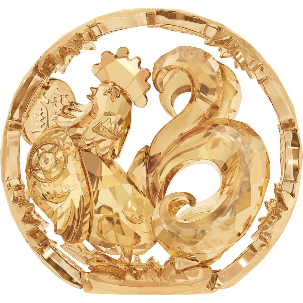 Swarovski Chinese Zodiac - Rooster , Gold Tone