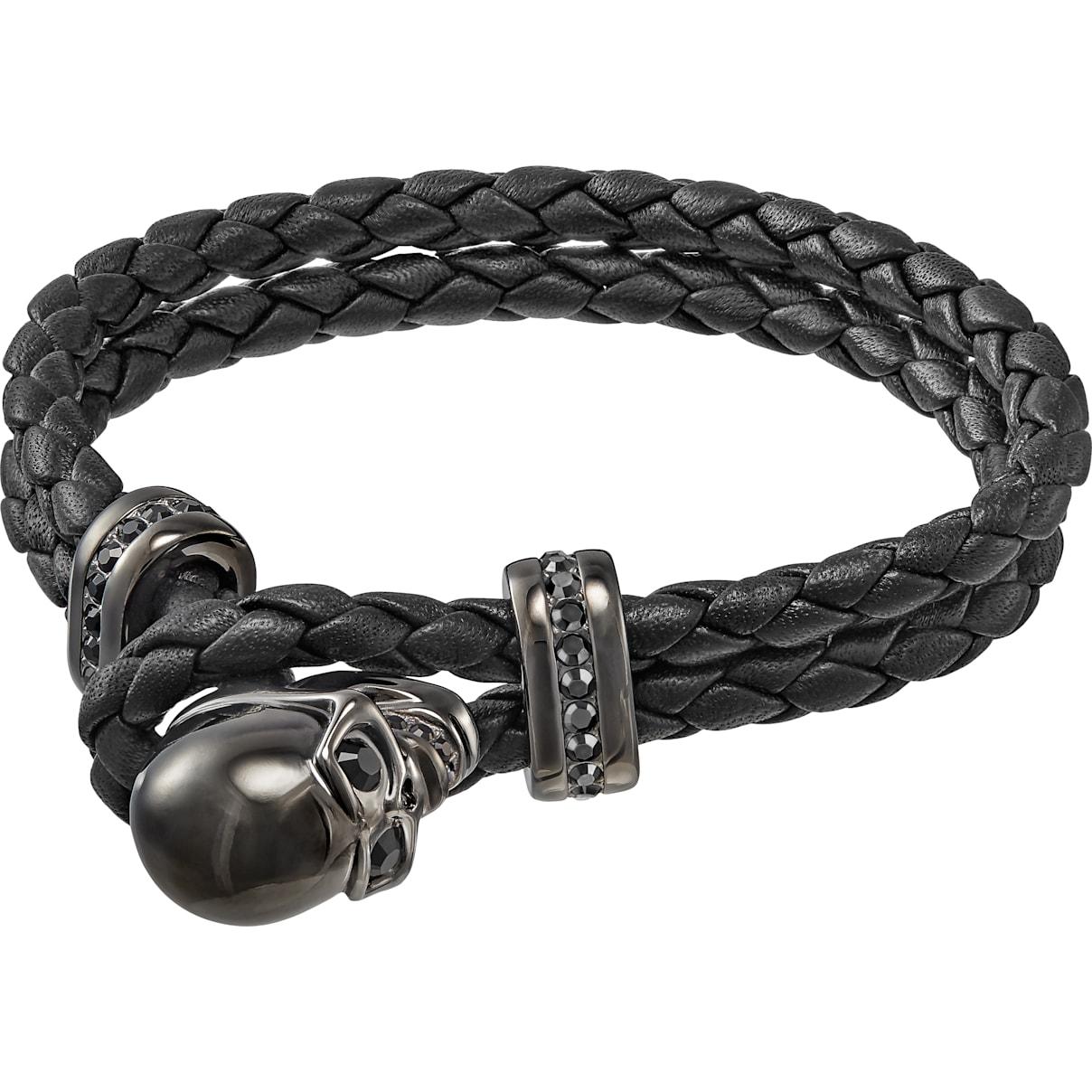 Swarovski Fran Bracelet, Leather, Black, Gun Metal plated