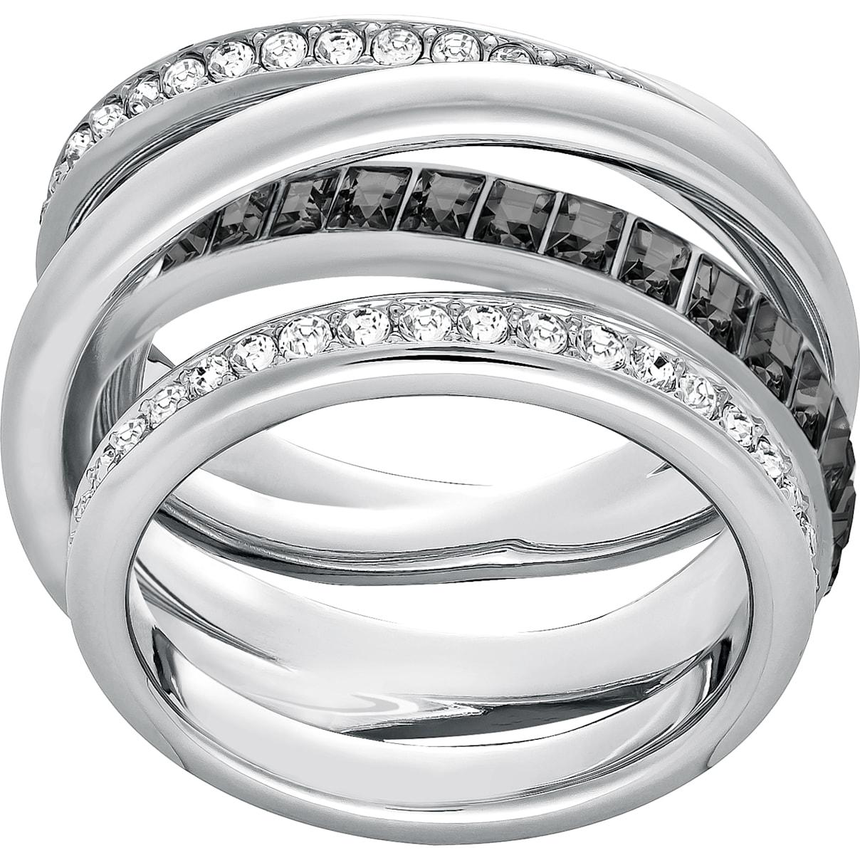 Swarovski Dynamic Ring, Gray, Rhodium plated
