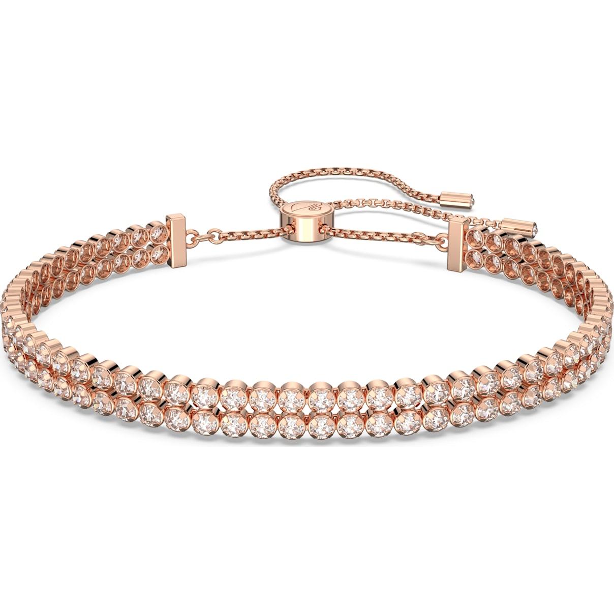 Swarovski Subtle Bracelet, White, Rose-gold tone plated