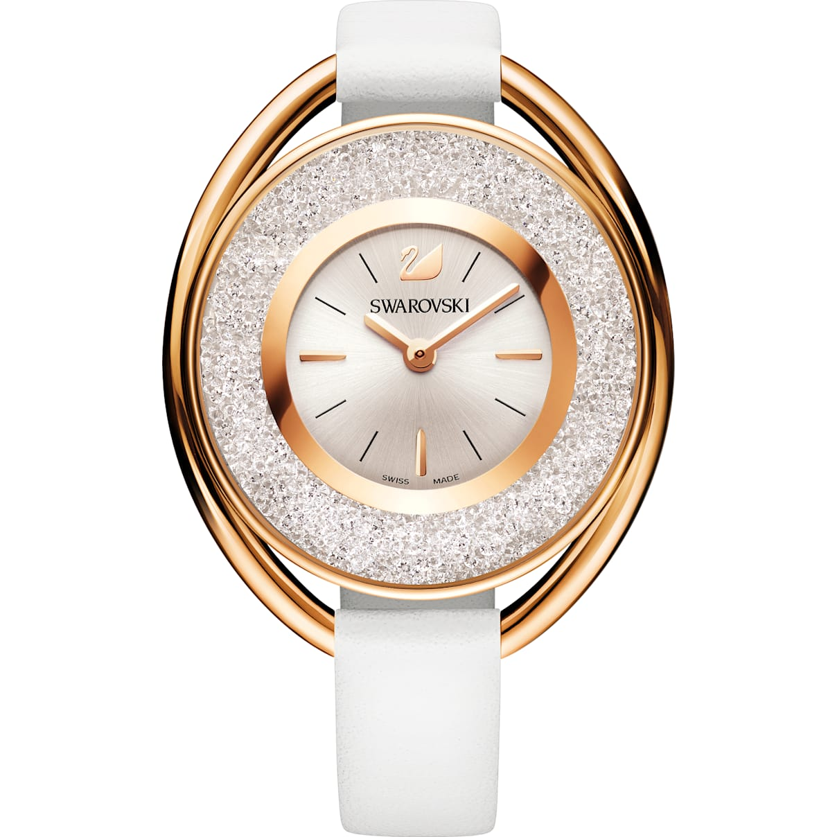 Swarovski Crystalline Oval Watch, Leather strap, White, Rose-gold tone PVD