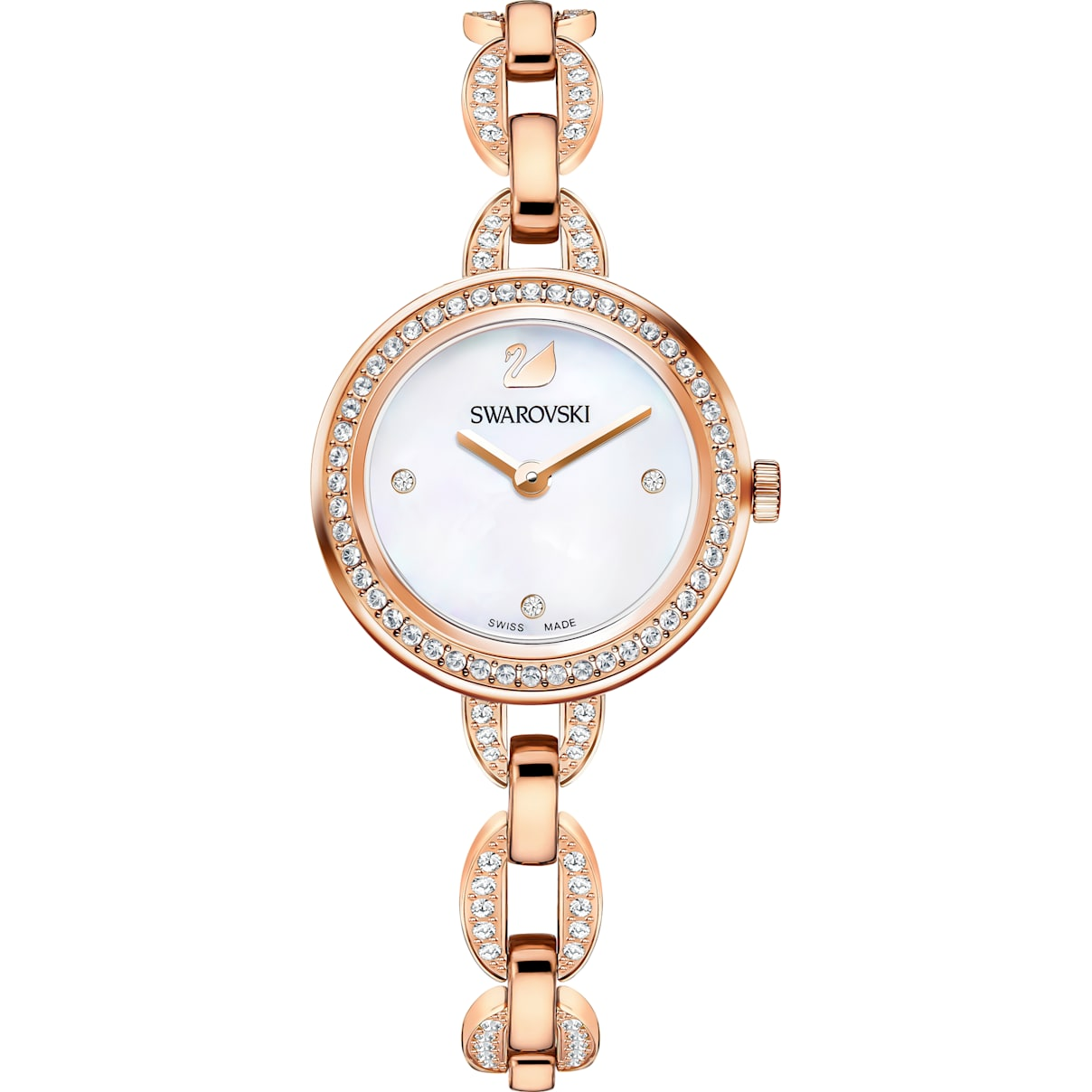Swarovski Aila Mini Watch, Metal bracelet, Rose-gold tone PVD