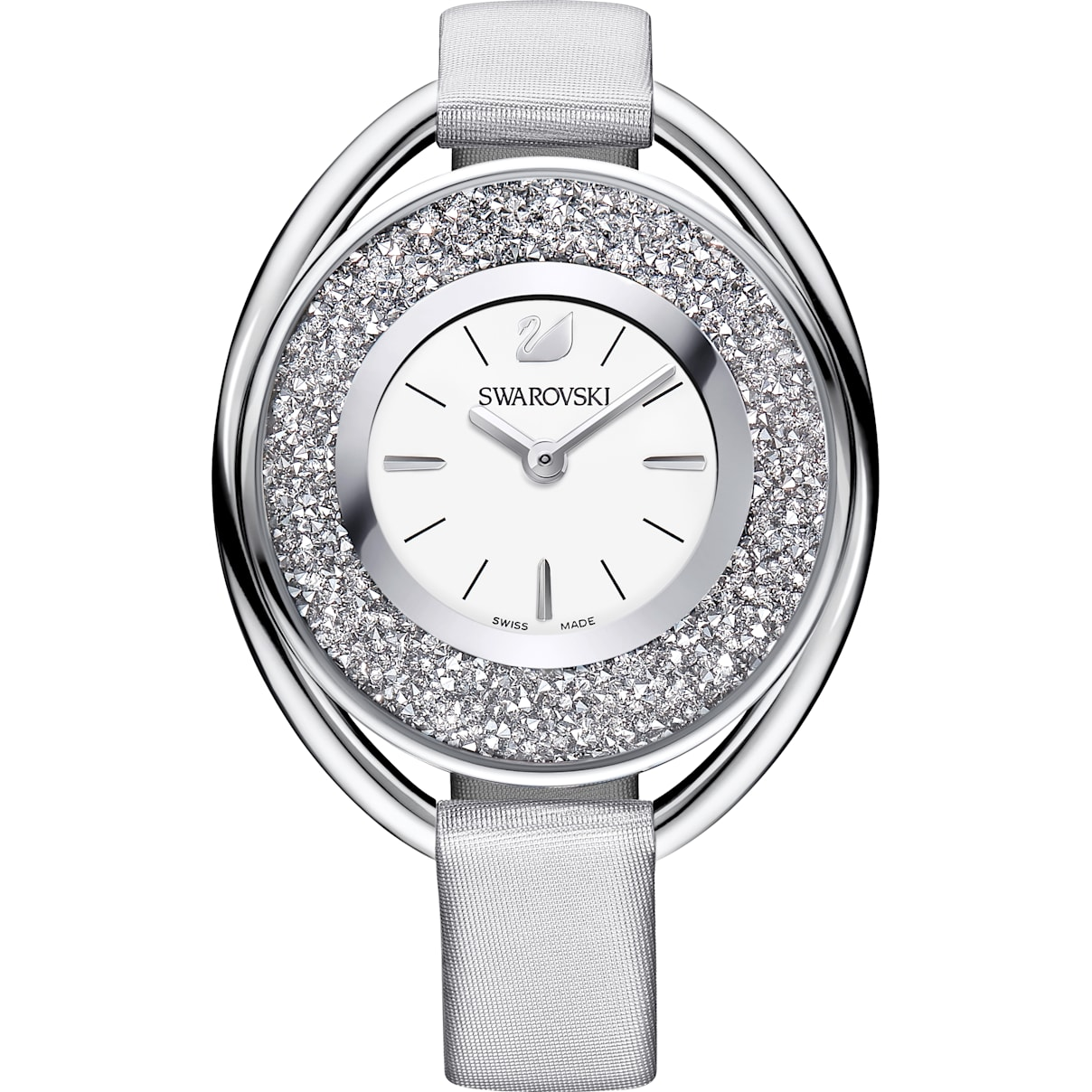 Swarovski Crystalline Oval Watch, Fabric strap, Gray, Silver tone