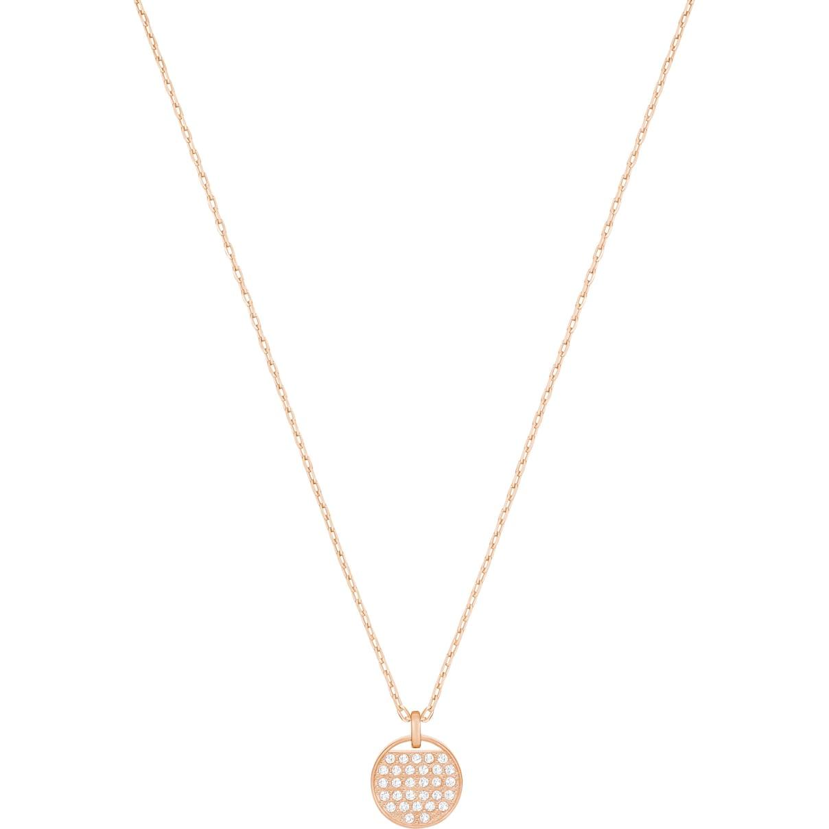 Swarovski Ginger Pendant, White, Rose-gold tone plated
