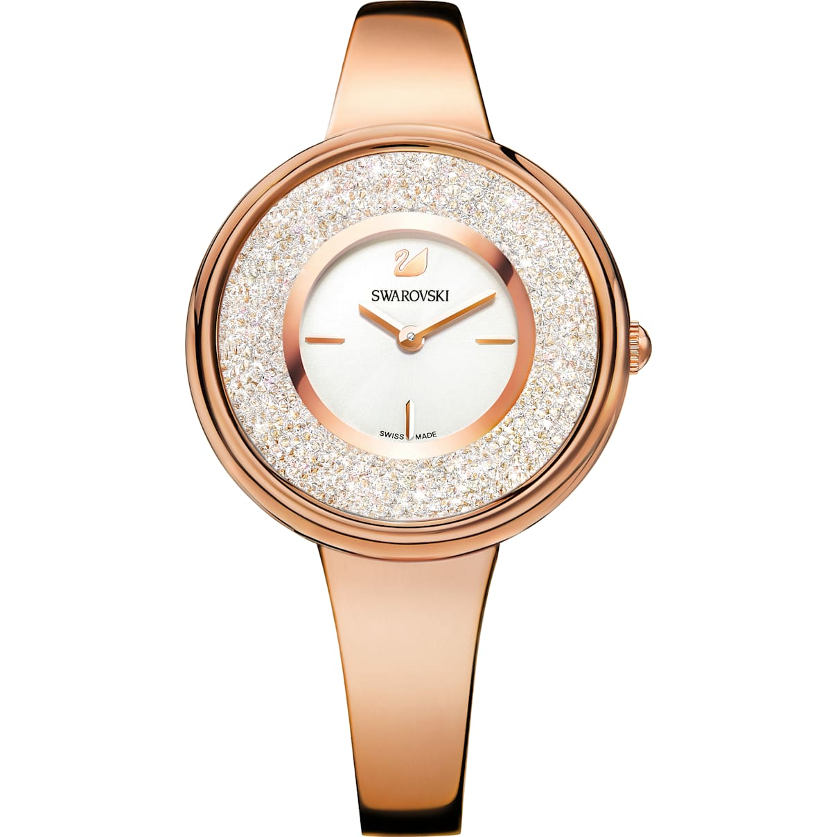 Swarovski Crystalline Pure Watch, Metal bracelet, White, Rose-gold tone PVD