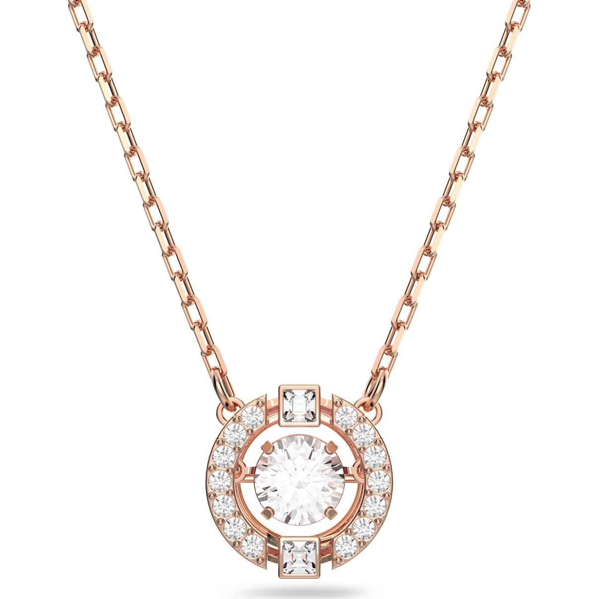 Swarovski Swarovski Sparkling Dance Round Necklace, White, Rose-gold tone plated