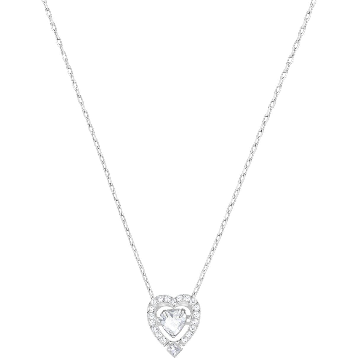 Swarovski Swarovski Sparkling Dance Heart Necklace, White, Rhodium plated