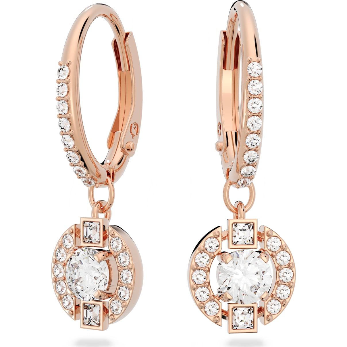 Swarovski Swarovski Sparkling Dance Round Pierced Earrings, White, Rose-gold tone plated