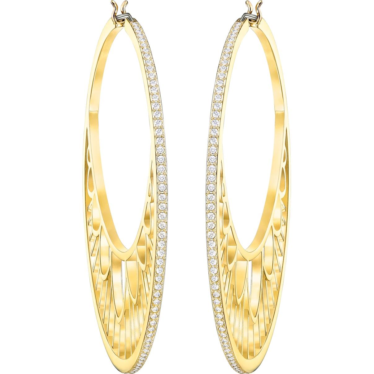Swarovski Georgette Hoop Pierced Earrings, White, Gold-tone plated