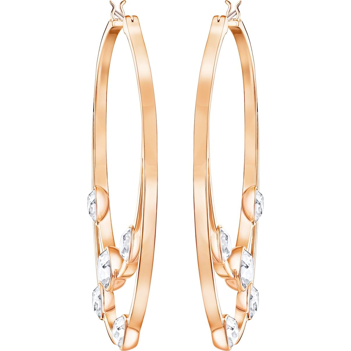 Swarovski Gaze Hoop Pierced Earrings, White, Rose-gold tone plated