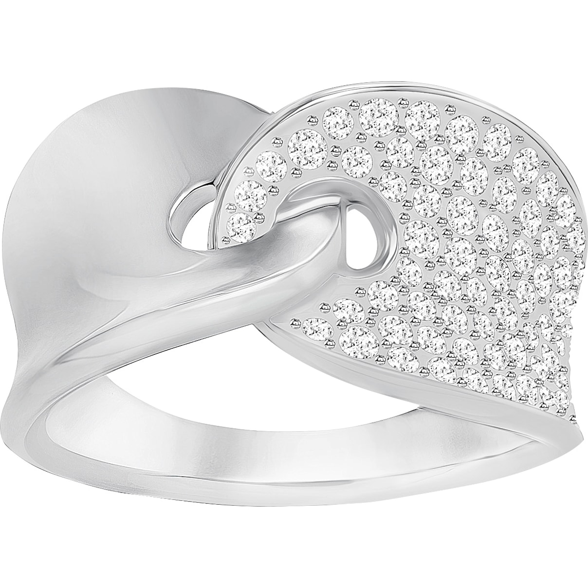 Swarovski Guardian Ring, White, Rhodium Plating