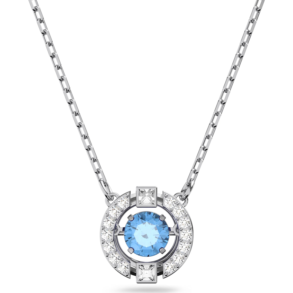 Swarovski Swarovski Sparkling Dance Round Necklace, Blue, Rhodium plated