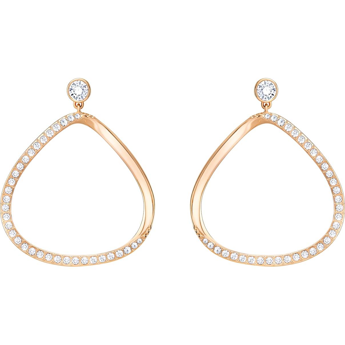 Swarovski Gaya Pierced Earrings, White, Rose-gold tone plated