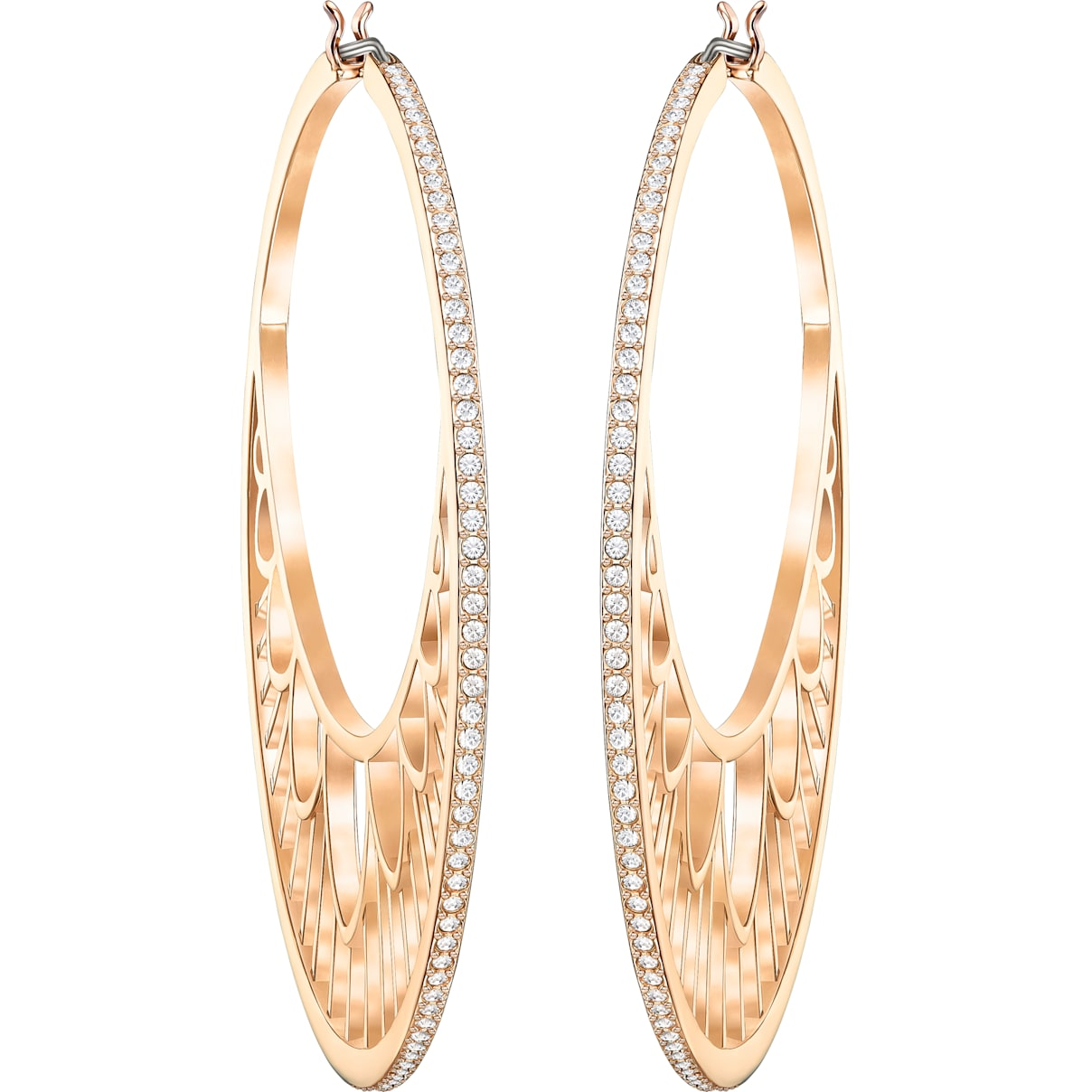 Swarovski Georgette Hoop Pierced Earrings, White, Rose-gold tone plated
