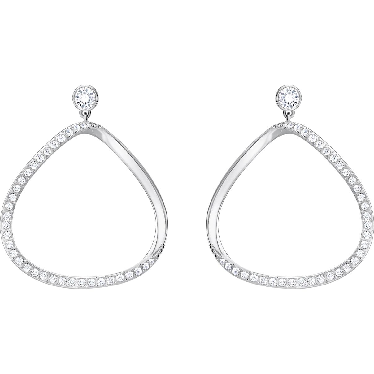 Swarovski Gaya Pierced Earrings, White, Rhodium Plating