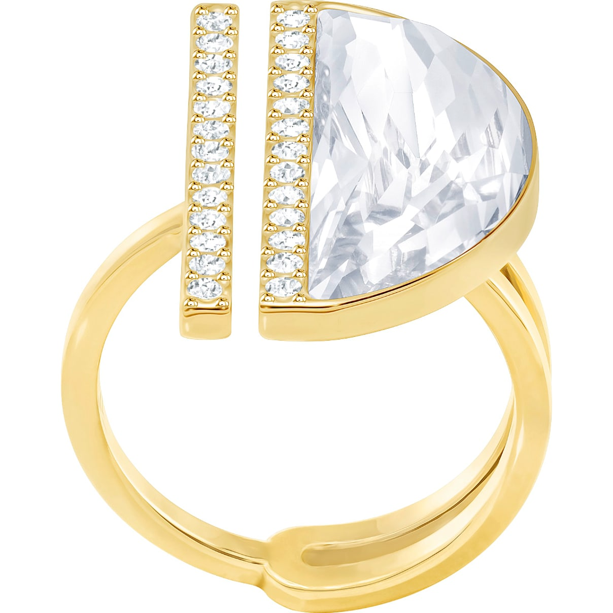 Swarovski Glow Ring, White, Gold-tone plated