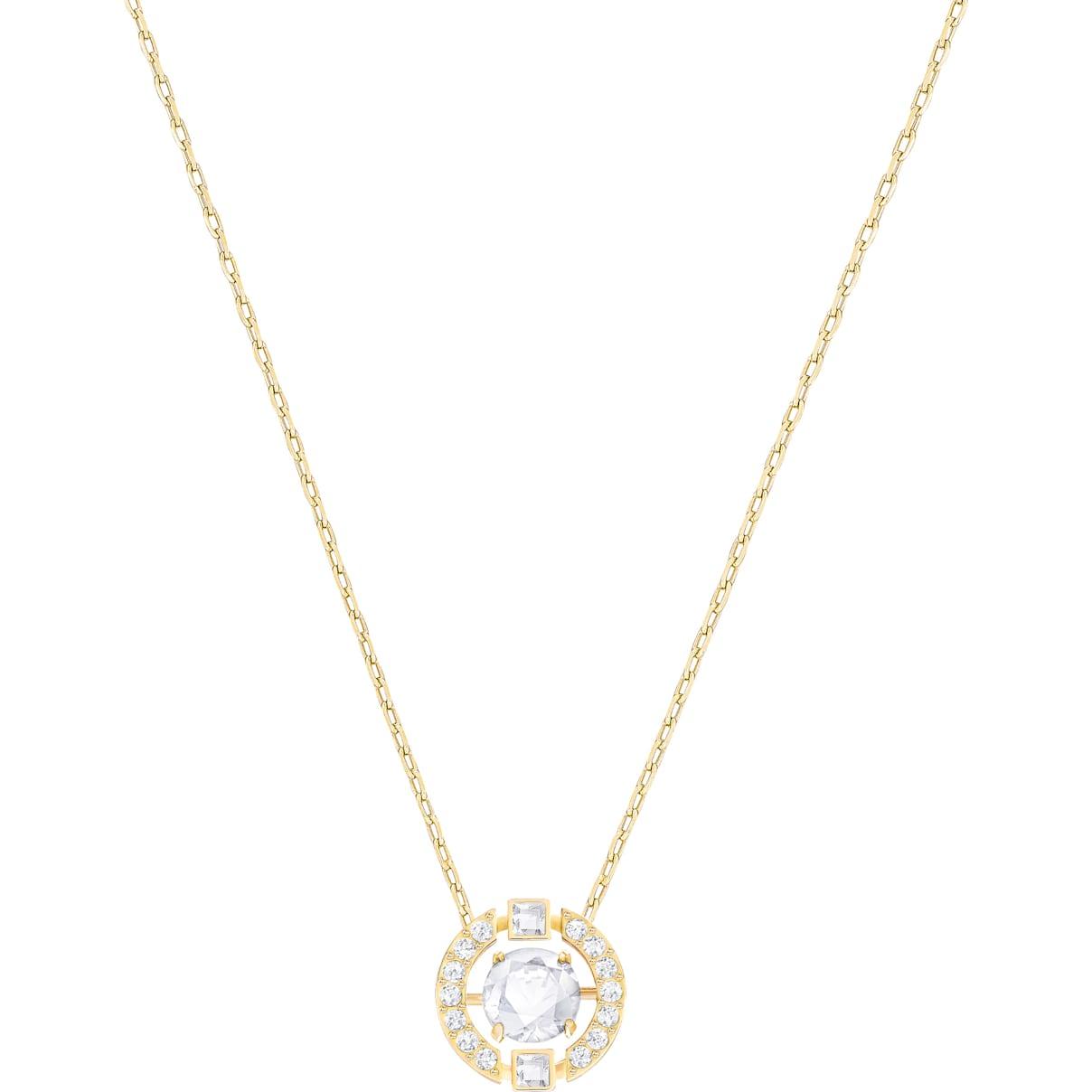 Swarovski Swarovski Sparkling Dance Round Necklace, White, Gold-tone plated