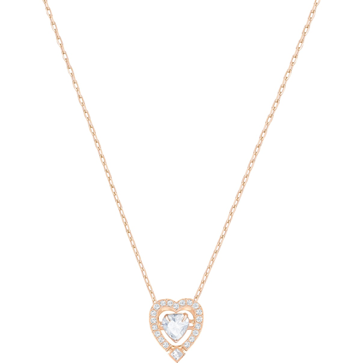 Swarovski Swarovski Sparkling Dance Heart Necklace, White, Rose-gold tone plated