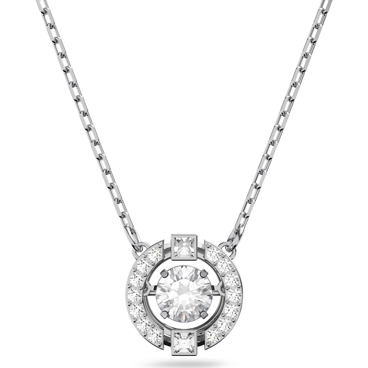 Swarovski Swarovski Sparkling Dance Round Necklace, White, Rhodium plated